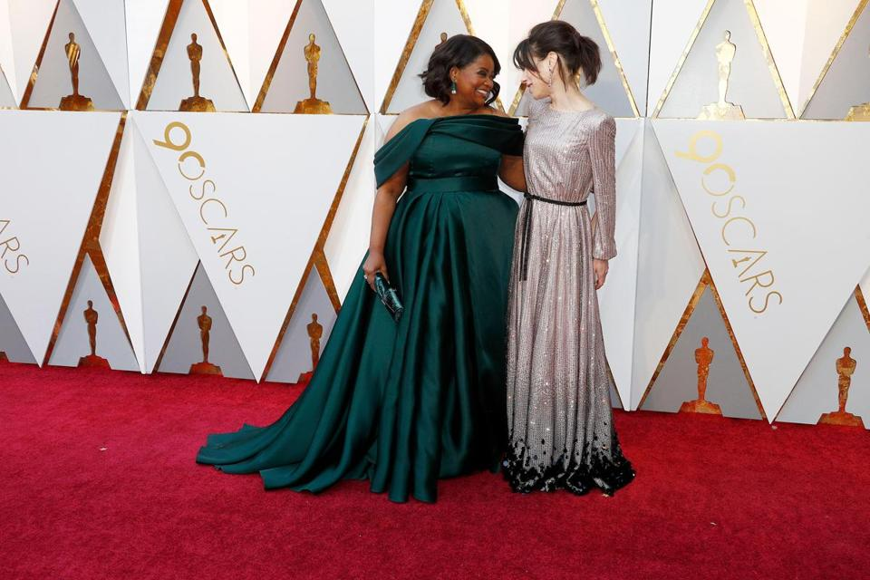 Mandatory Credit: Photo by MIKE NELSON/EPA-EFE/REX/Shutterstock (9448541pe) Sally Hawkins, Octavia Spencer Arrivals - 90th Academy Awards, Hollywood, USA - 04 Mar 2018 Octavia Spencer (L) and Sally Hawkins arrives for the 90th annual Academy Awards ceremony at the Dolby Theatre in Hollywood, California, USA, 04 March 2018. The Oscars are presented for outstanding individual or collective efforts in 24 categories in filmmaking.