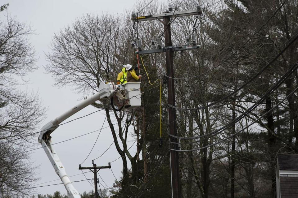 A work crew  repaired a power line in Duxbury.