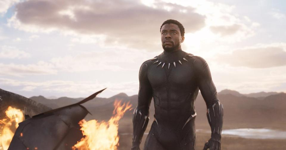 "T'Challa/Black Panther (Chadwick Boseman) in a scene from ""Black Panther."""