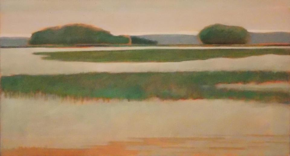 Mrs. Weatherall was artist before she married Mr. Updike, who consulted her about his works. She resumed painting landscapes after she raised their children.