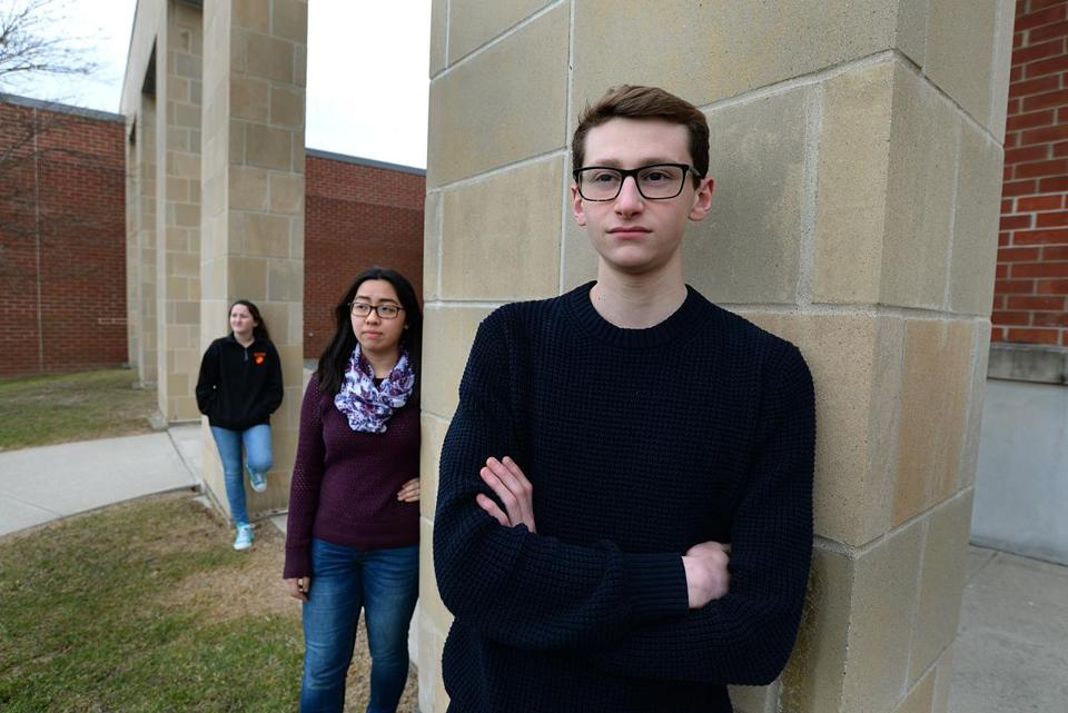 Oliver Ames High School students (left to right) Victoria Thomas, Hannah To, and Andrew Abramson are planning a school walkout against gun violence March 14.