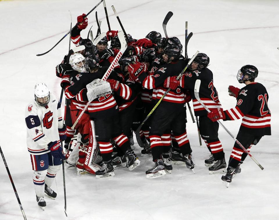Hingham celebrated its 1-0 upset of Central Catholic.