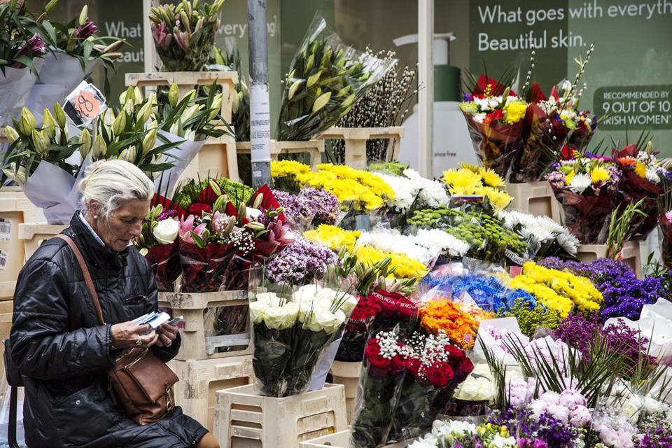 A flower vendor in Dublin adds color to the neighborhood.