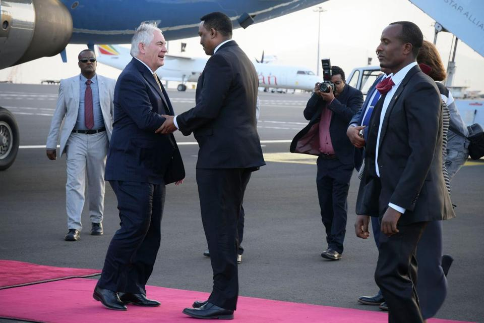 US Secretary of State Rex Tillerson (left) is received by Ethiopian Foreign Minister Workneh Gebeyehu upon his arrival at the Bole International Airport in Addis Ababa, Ethiopia, on Wednesday.