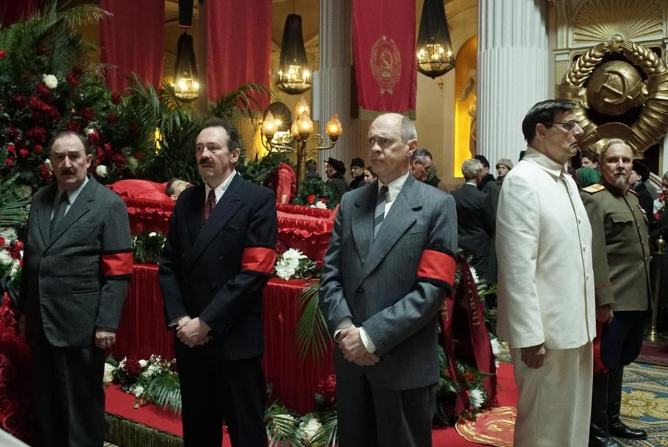 "Dermot Crowley, Paul Whitehouse, Steve Buscemi, Jeffrey Tambor, and Paul Chahidi in ""The Death of Stalin."""