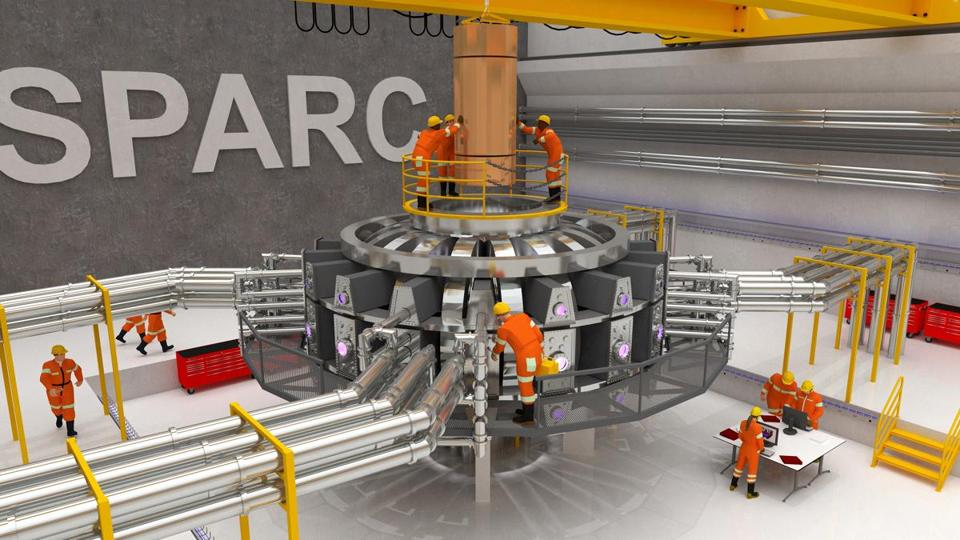 Visualization of the proposed SPARC tokamak experiment. Using high-field magnets built with newly available high-temperature superconductor, this experiment would be the first controlled fusion plasma to produce net energy output. Visualization by Ken Filar, PSFC Research Affiliate