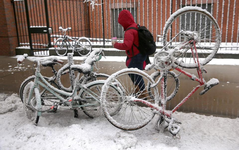 A bike rack appeared to be frozen on Harrison Avenue in Boston on Thursday after the storm.