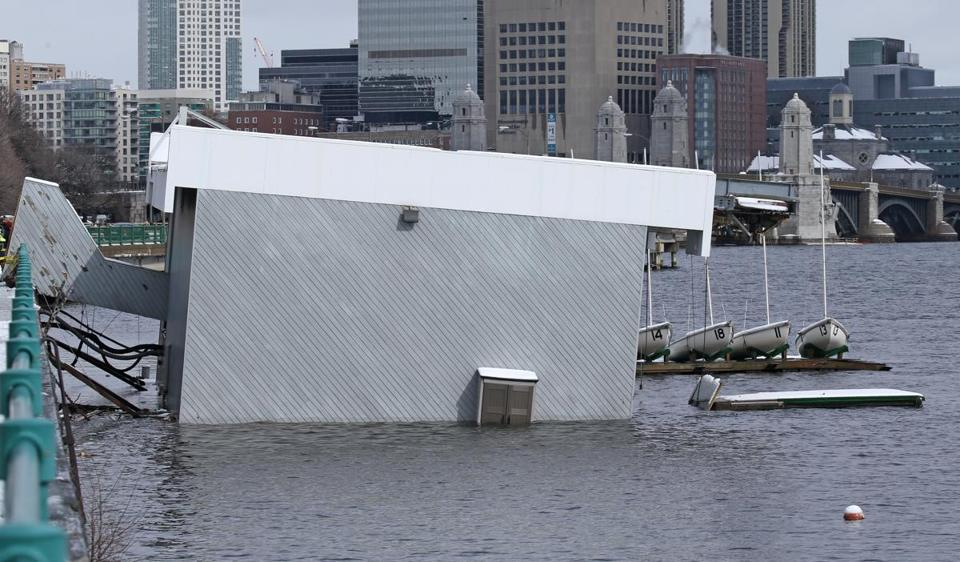The two-story Harvard Sailing Center on the Charles River is slowly sinking in the wake of Thursday's nor'easter. A compromised flotation device is apparently at fault, according to officials.