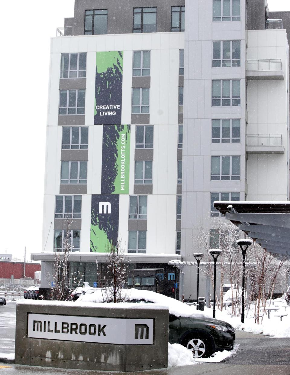 Millbrook Lofts is an upscale 100-unit complex in Somerville on the East Cambridge line.