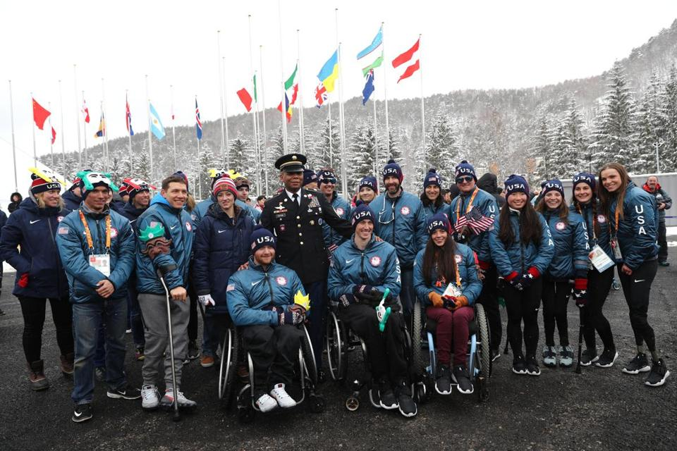 PYEONGCHANG-GUN, SOUTH KOREA - MARCH 8: Members of the United States paralytic team during the Welcoming Ceremony at the PyeongChang Olympic Village ahead of the PyeongChang 2018 Paralympic Games on March 8, 2018 in Pyeongchang-gun, South Korea. (Photo by Maddie Meyer/Getty Images)