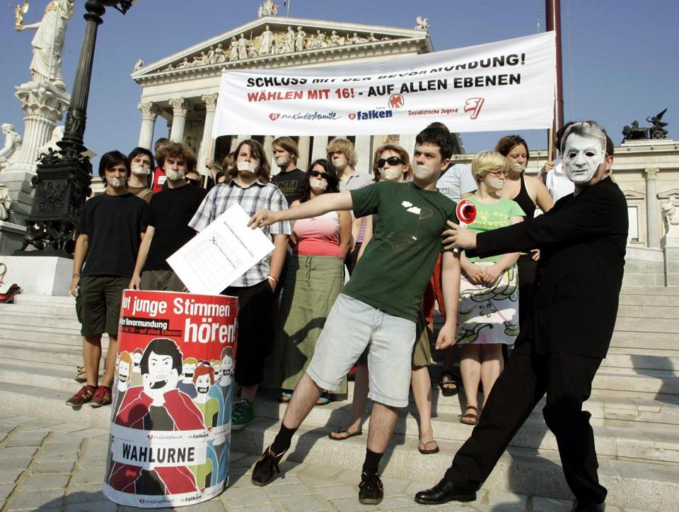 Austrian 16-year-olds demanding the vote in front of the Parliament building in Vienna in 2006.
