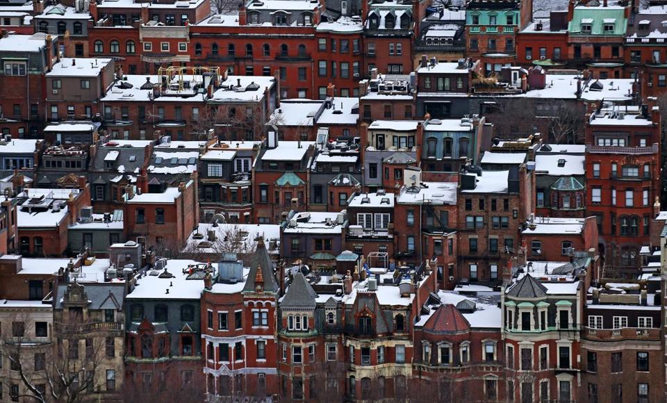 Snow covered roofs in the Back Bay section of Boston last week.