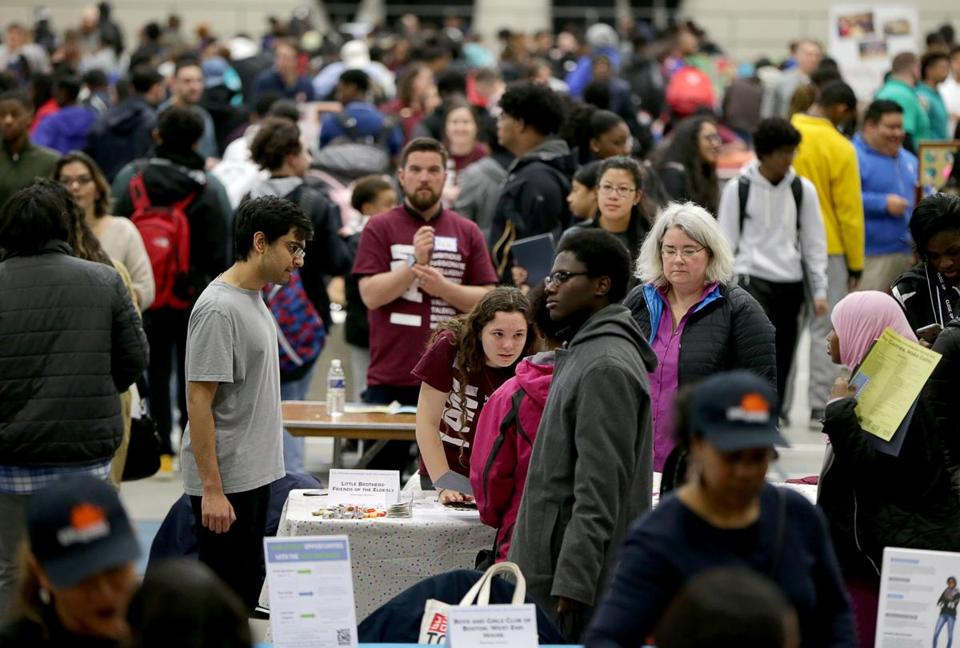 03/10/2018 Boston Ma- Some of the crowd at the Youth job fair at the Reggie Lewis Center. Jonathan Wiggs /Globe Staff Reporter:Topic.