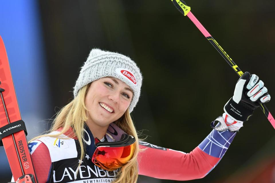 US' Mikaela Shiffrin celebrates after finishing third during the FIS World Cup Women's Giant Slalom competition in Ofterschwang, southern Germany, on March 9, 2018. / AFP PHOTO / Christof STACHECHRISTOF STACHE/AFP/Getty Images