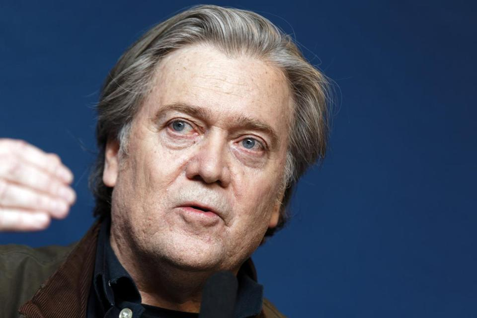 Former White House adviser Steve Bannon spoke Saturday in Paris.