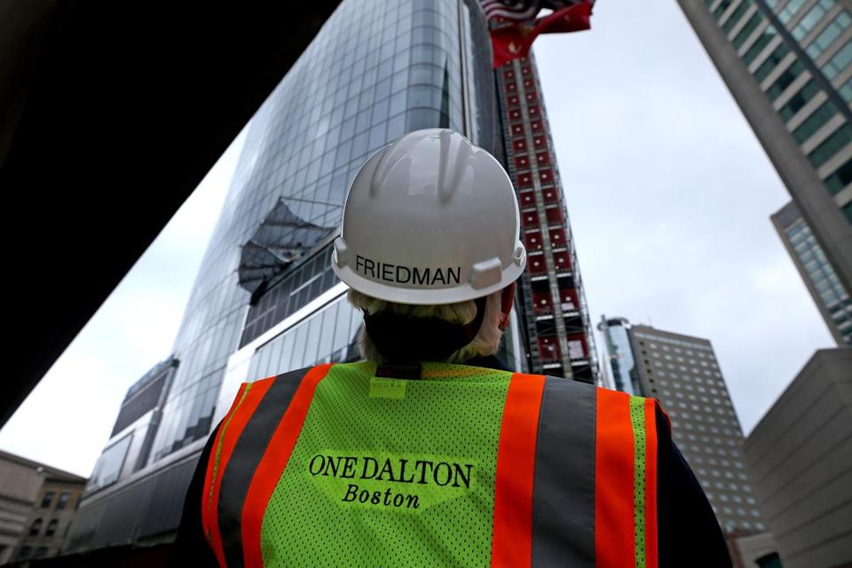 Dick Friedman eyed the crane at work on One Dalton, the 742-foot tower he has developed in the Back Bay.