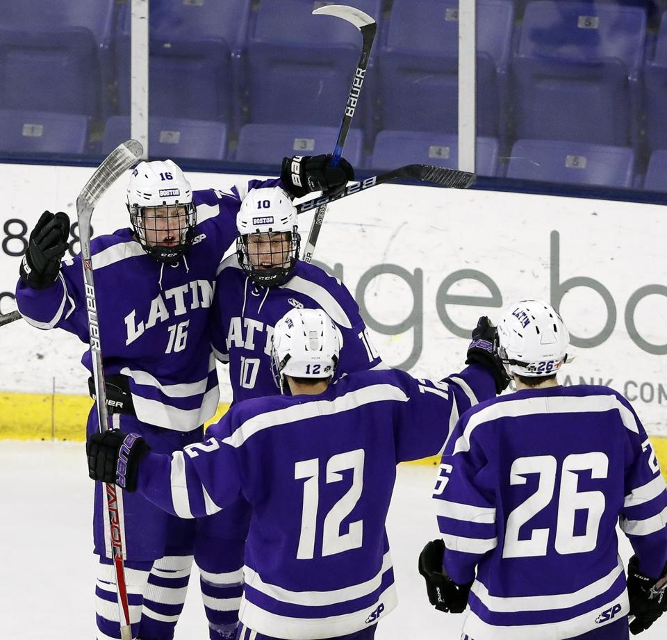 Devin Gallager (16) gave his Boston Latin teammates something to celebrate with his early power-play tally.