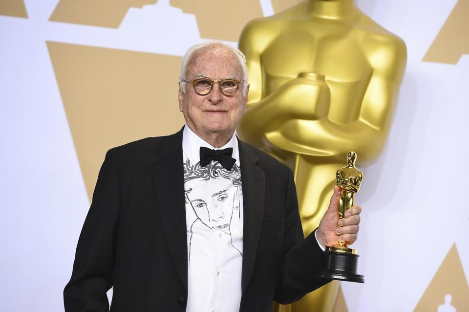 James Ivory holds his Oscar for best adapted screenplay earlier this month at the Academy Awards in Los Angeles.
