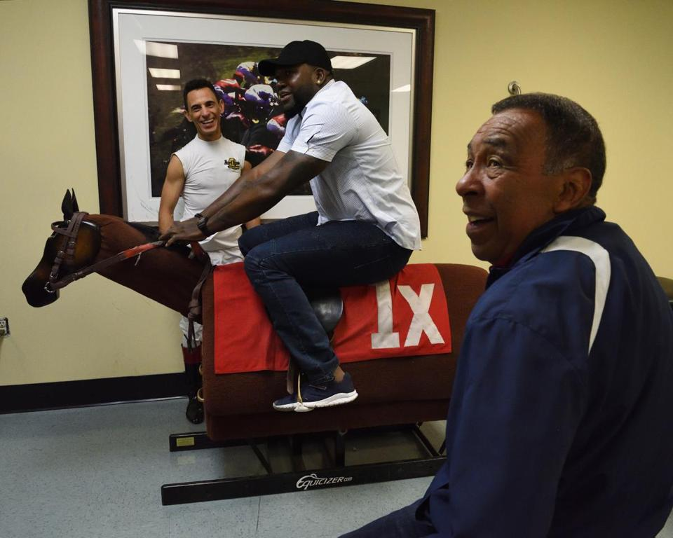 "John Velazquez and Angel Cordero with David Ortiz at Gulfstream Park in Hallandale Beach, Fla., during filming of ""Big Papi Needs a Job."""