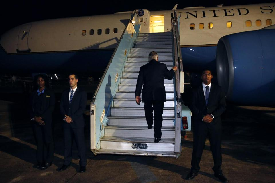 Secretary of State Rex Tillerson boarded his plane as he left Abuja on Monday at the end of an African tour.