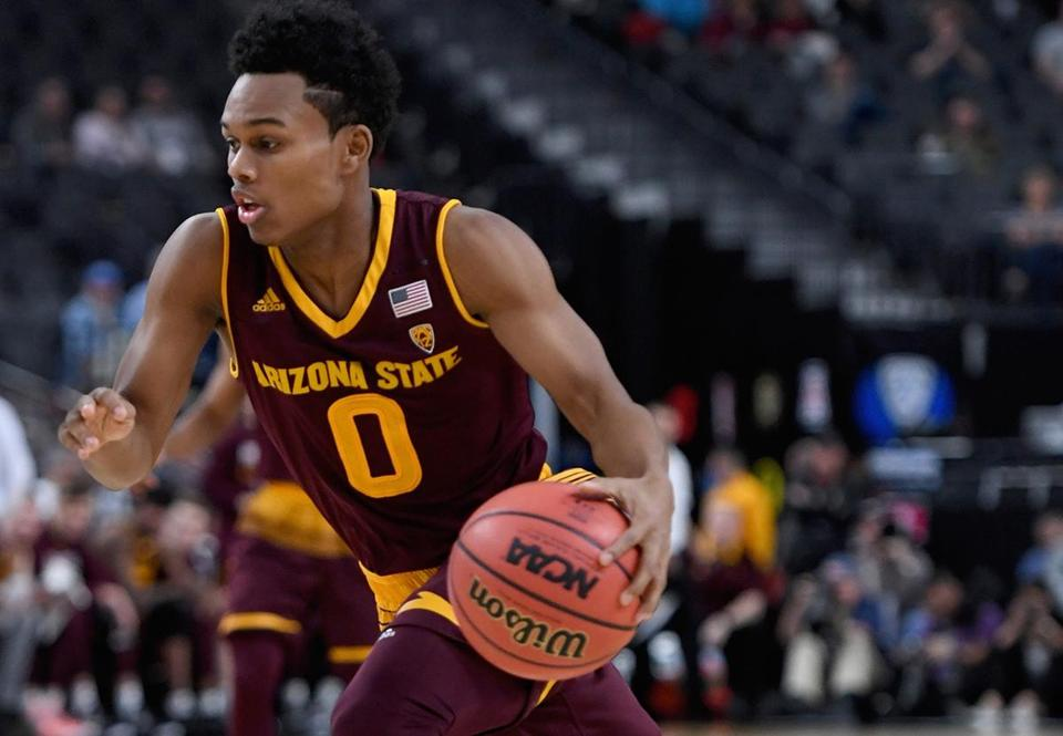 LAS VEGAS, NV - MARCH 07: Tra Holder #0 of the Arizona State Sun Devils drives against the Colorado Buffaloes during a first-round game of the Pac-12 basketball tournament at T-Mobile Arena on March 7, 2018 in Las Vegas, Nevada. The Buffaloes won 97-85. (Photo by Ethan Miller/Getty Images)