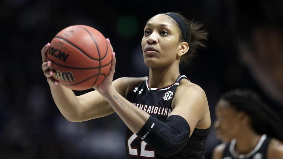 South Carolina forward A'ja Wilson shoots a free throw in the second half of the NCAA college basketball championship game against Mississippi State at the women's Southeastern Conference tournament Sunday, March 4, 2018, in Nashville, Tenn. (AP Photo/Mark Humphrey)
