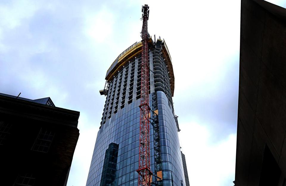 One Dalton is under construction in Boston's Back Bay neighborhood. The building will be 61 stories tall.