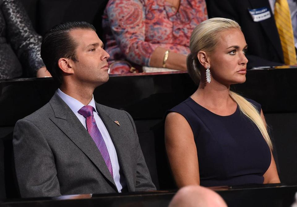 "(FILES) In this file photo taken on July 21, 2016 Donald Trump Jr., and his wife Vanessa Trump look on during the Republican National Convention at the Quicken Loans Arena in Cleveland, Ohio on July 21, 2016. US President Donald Trump's daughter-in-law Vanessa was taken to a New York hospital Monday, February 12, 2018 as a precaution after a ""suspicious package"" containing an unidentified powder arrived at her home, police said. The letter was sent to Donald Trump Jr, the president's eldest son, and contained a mysterious substance, according to police. ""The powder was tested and was found to be not hazardous,"" a spokeswoman told AFP. / AFP PHOTO / Robyn BECKROBYN BECK/AFP/Getty Images"