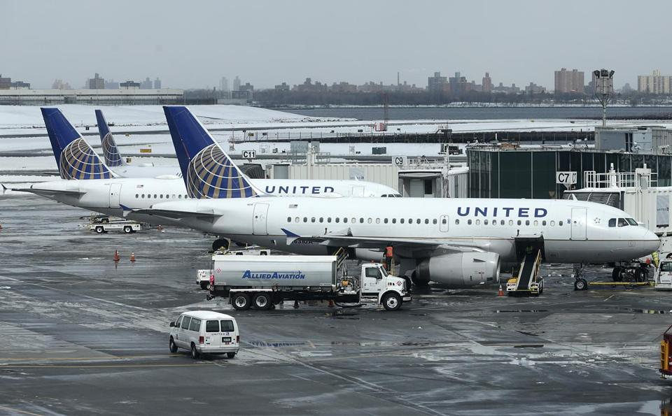 United Airlines jets sat on the tarmac at LaGuardia Airport in New York.
