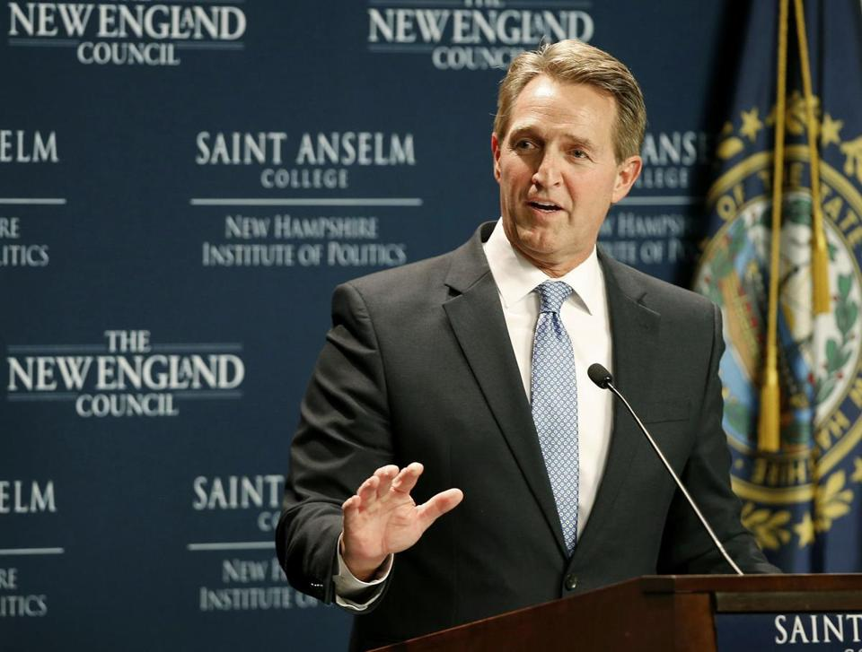 Senator Jeff Flake, Republican of Arizona, spoke at the New Hampshire Institute of Politics at Saint Anselm College in Manchester, N.H. Friday.