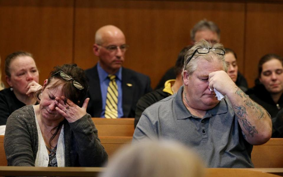 Michelle Murray-Mendez and Steven Mendez, parents of Jaimee Mendez, listened to proceedings at Salem Superior Court in Salem on Friday.