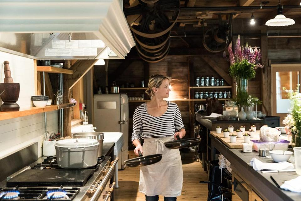 Chef Owner Erin French Preps At The Lost Kitchen In Freedom, Maine. The