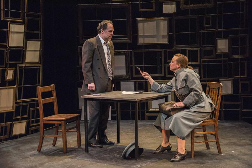 "Benjamin Evett and Laura Latreille in New Repertory Theatre's production of ""The Bakelite Masterpiece."""