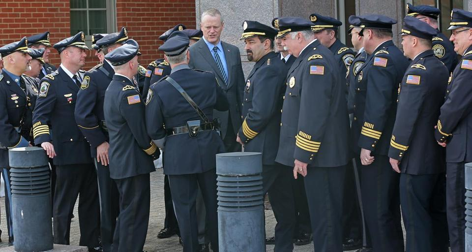 Governor Charlie Baker spoke with police chiefs and local officials on fentanyl trafficking legislation at Haverhill police headquarters Tuesday.