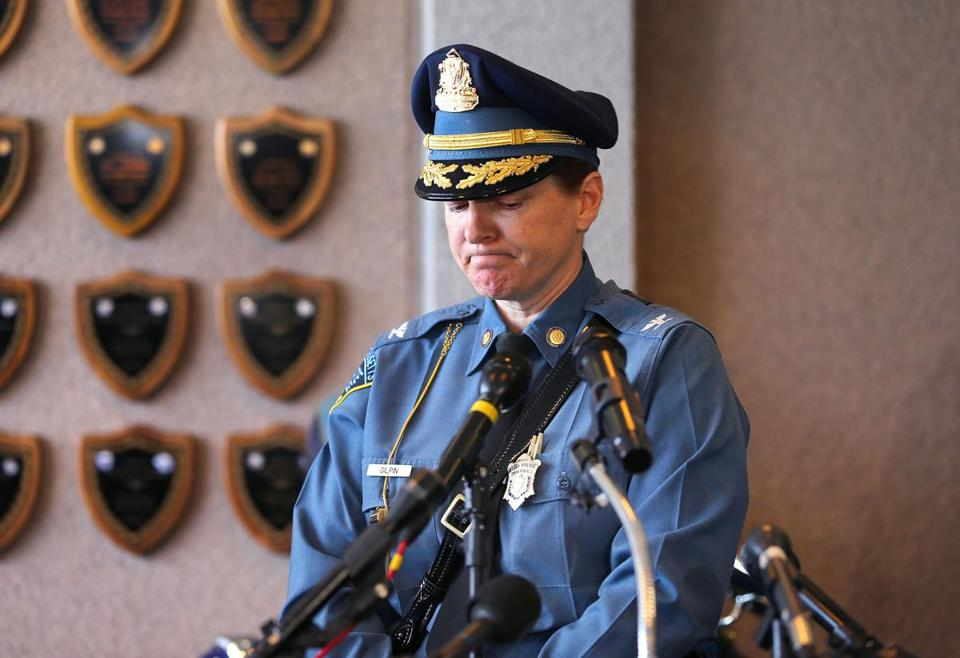 Massachusetts State Police Colonel Kerry Gilpin addressed the media Tuesday at the State Police Headquarters concerning an investigation into State Police overtime.