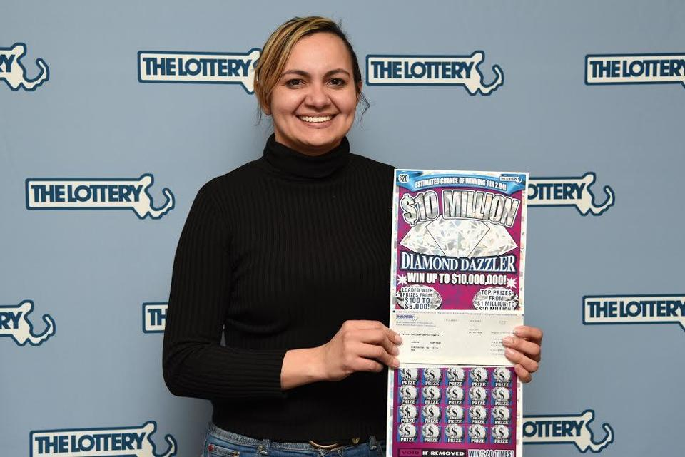 "A Dorchester woman won $10 million in the state lottery's ""10 Million Diamond Dazzler"" instant game."