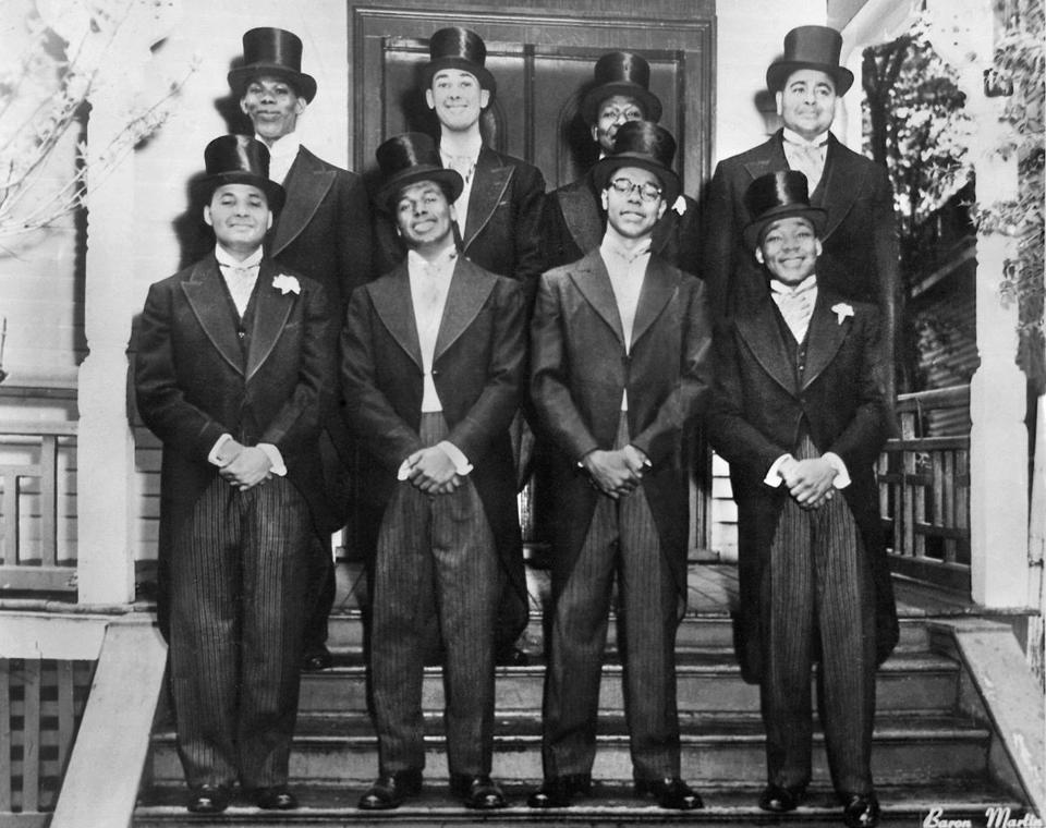 King (first row, right) at bid day for Sigma Chapter of Alpha Phi Alpha Fraternity at BU in 1952.