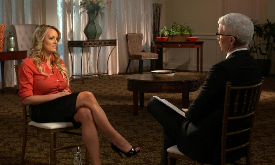 "Stormy Daniels (left) spoke during a pretaped interview that aired Sunday on ""60 Minutes."""
