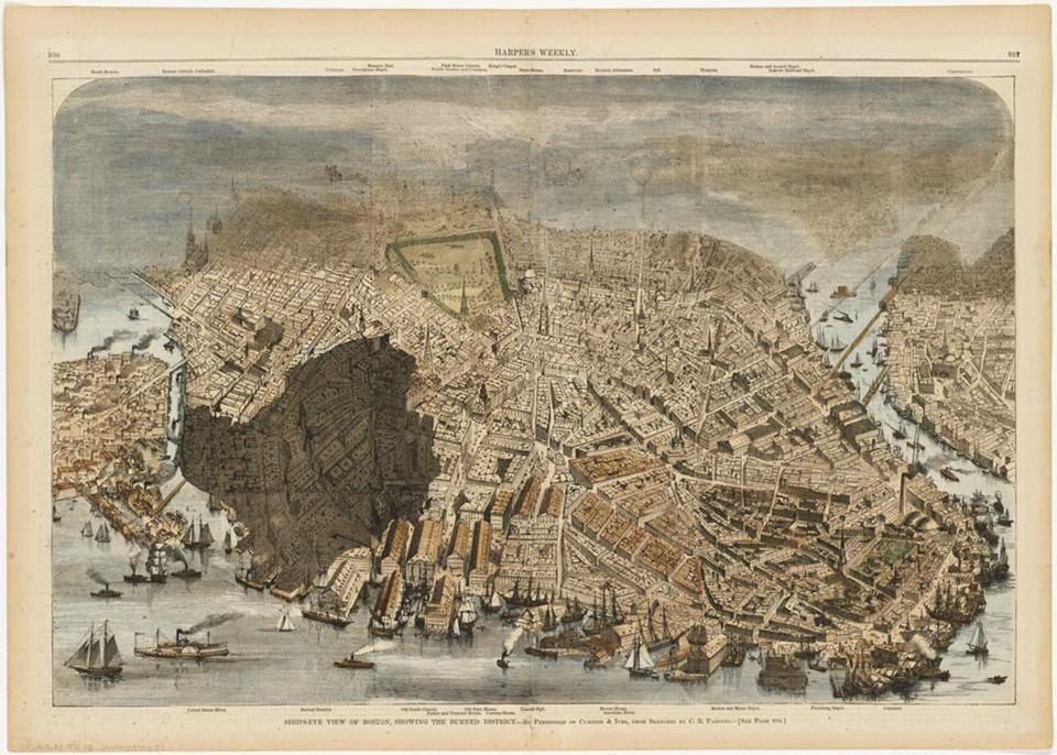 "Currier & Ives, ""Bird's-eye view of Boston, showing the burned district,"" 1872."