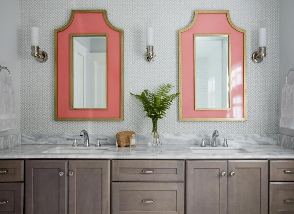 "The driftwood-like finish of the master bath vanity keeps the overall effect casual and classic. Emily says, ""I wanted nature-inspired elements but didn't want to go too beachy."""