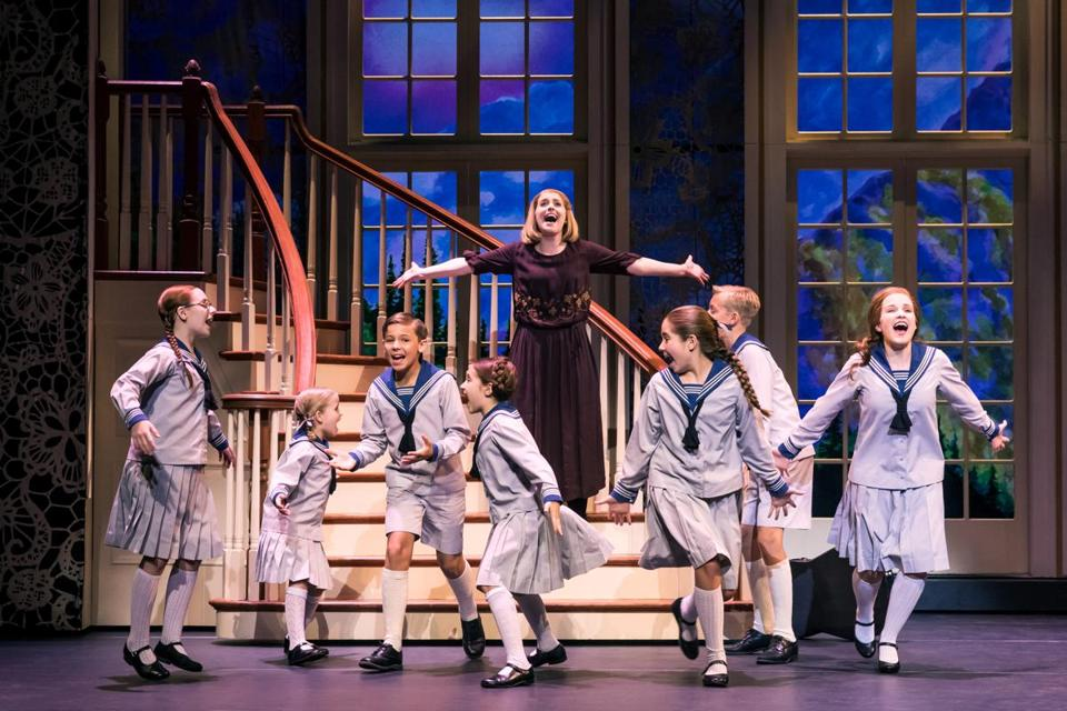 "Jill-Christine Wiley (on stairs) plays Maria, governess to the von Trapp family, in ""The Sound of Music."""
