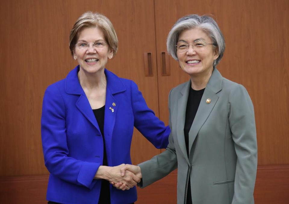 Senator Elizabeth Warren met with South Korea's Minister of Foreign Affairs Kang Kyung-wha on Thursday as part of an official trip to South Korea, Japan, and China.