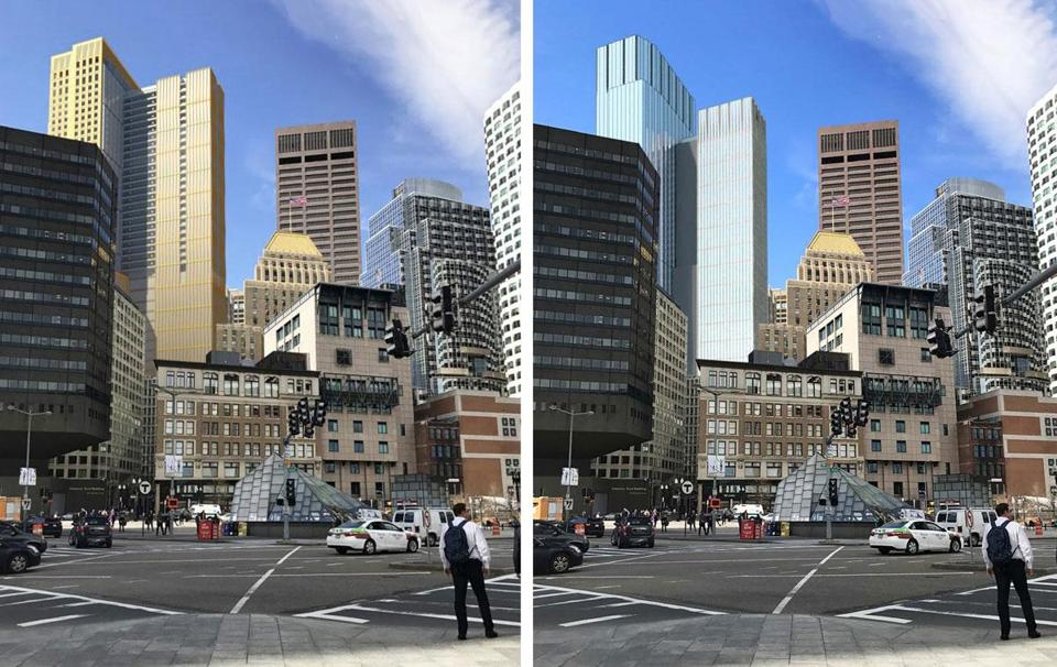 The developers replaced a widely panned design (left) with a new one to address a variety of concerns.