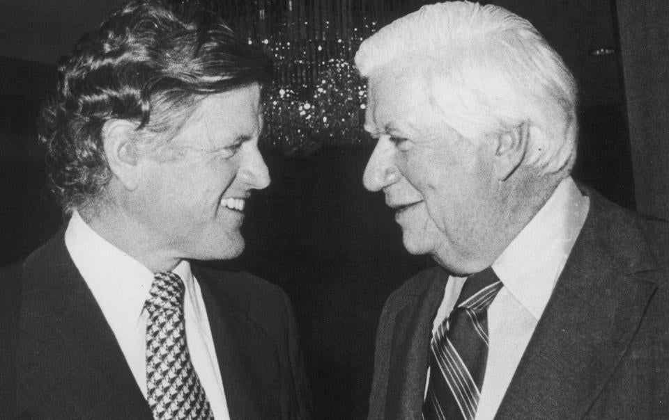 Ted Kennedy (left) and Tip O'Neill worked closely to help secure federal funds for their constituents.