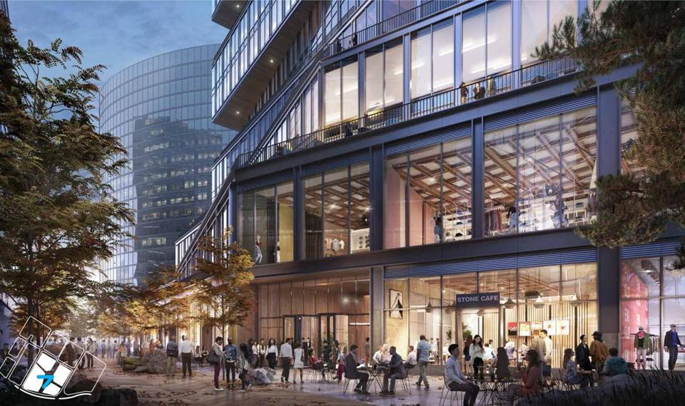 WS Development released images of the building it would construct for Amazon on a pedestrian promenade.