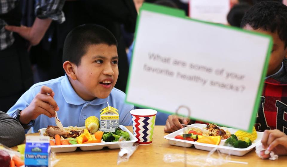 Moises Gaspar, 11, ate a fresh meal Monday at the Bradley Elementary School in East Boston, which features a full-service kitchen.