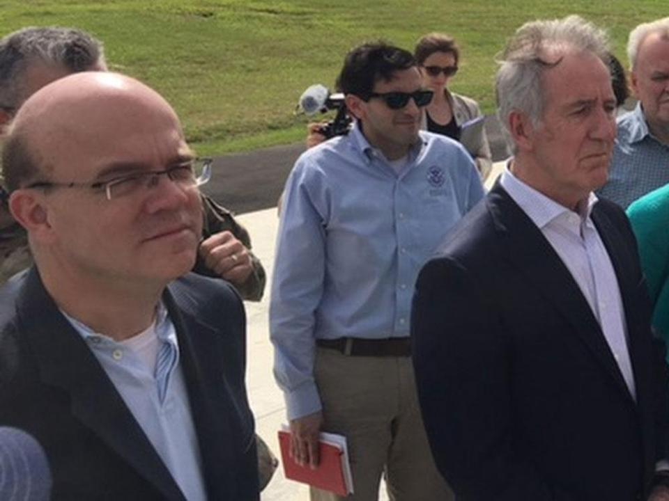 Representatives Jim McGovern (left) and Richard Neal (right) could become chairmen of two of the most powerful committees on Capitol Hill. Above: McGovern and Neal in Puerto Rico earlier this year.