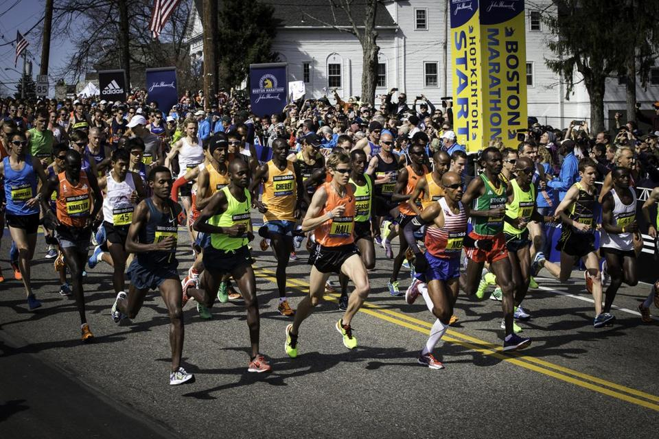 "The men's start at the 2014 Marathon as seen in ""Boston: The Documentary."""