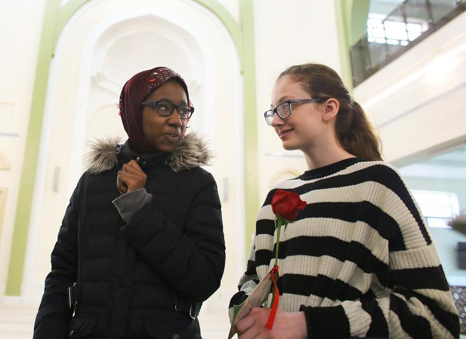 Mareyama Jalloh (left), 13, of East Boston and Mary Matero, 12, of West Roxbury, are seventh-grade classmates at the John D. O'Bryant School of Mathematics and Science.