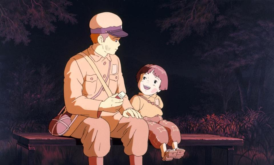 "a calm moment in ""Grave of the Fireflies,"" Mr. Takahata's wrenching World War II drama."